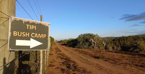 Discreet Tipi Bushcamp sign