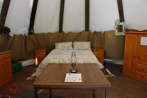 Tipi interior - double bed
